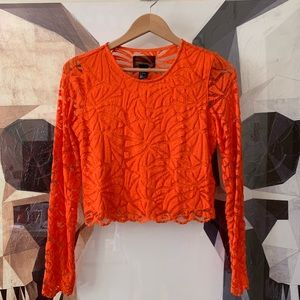 H&M neon orange lace long sleeve cropped shirt M